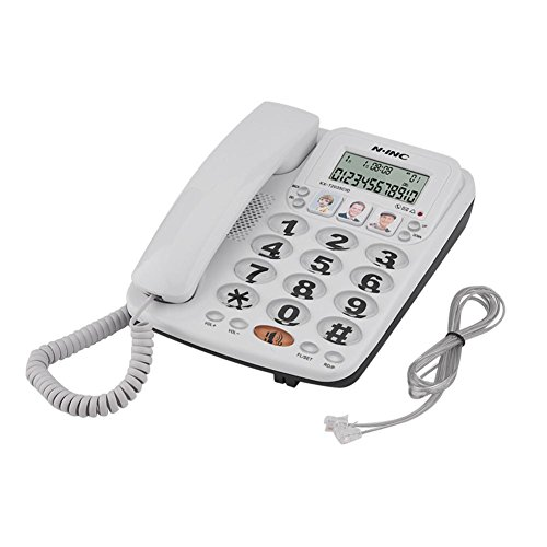 2 Line Speakerphone Hotel (Corded Photo Phone Speed Dail Telephone Big Button Two-line Handset Landline Telephone with Caller ID/Speakerphone for Home Office Hotel)