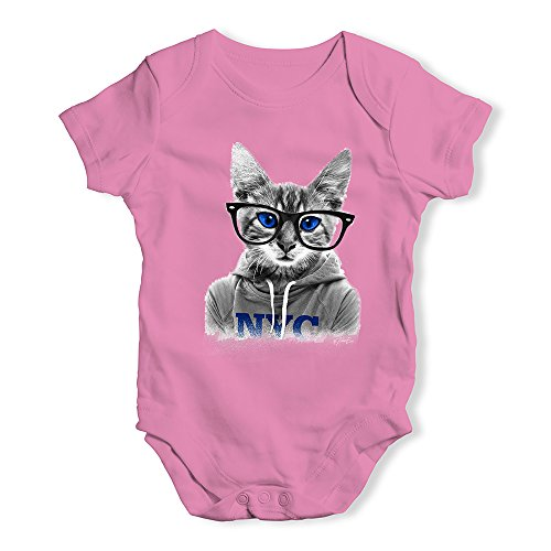 TWISTED ENVY Funny Bodysuits Baby Grow Onesie Nerdy Cat NYC Pink 12-18 Months