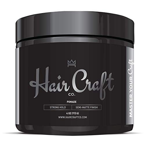 Hair Craft Co. Pomade 4oz - Best Semi-Matte Finish Shine - Original Hold Medium Strength (Gel) - Men's Styling Product, Barber Approved - Water Based/Soluble - Boss Scented - Straight/Thick/Wavy Hair