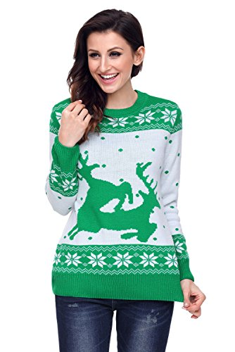 WAZZIT Women's Christmas Elk Floral Print Long Sleeve Casual Top Sweatshirt Cardigan ()
