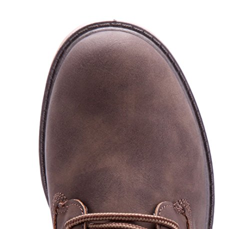 Schuhtempel24 Damen Schuhe Boots Stiefel Stiefeletten Blockabsatz 4 cm Khaki