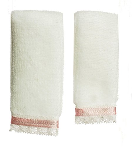 Dollhouse Miniature Plush White Towels with a Pink Ribbon