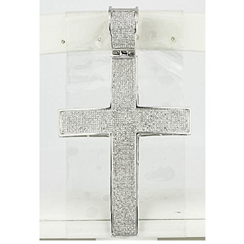 3.00 Carat (ctw) Sterling Silver Micro Pave White Diamond Mens Hip Hop Religious Cross Pendant ()