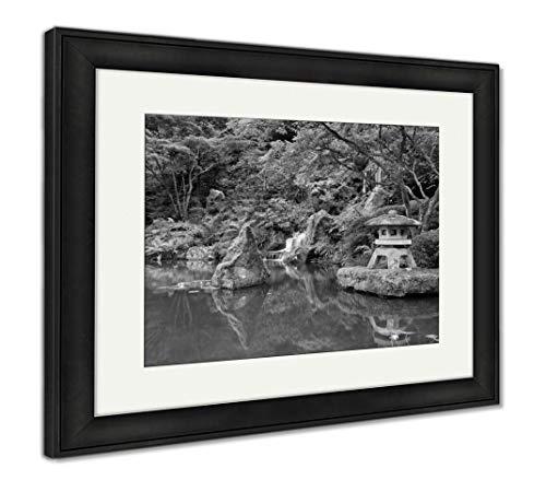 Ashley Framed Prints Portland Japanese Garden, Wall Art Home Decoration, Black/White, 34x40 (Frame Size), Black Frame, AG6504103