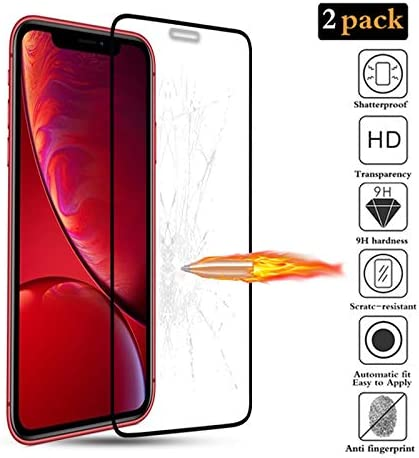 3D Protezione Schermo Durezza 9H 6.1 Facile da Pulire -Nero Senza Bolle 2 Pezzi Alta Definizione Vetro Temperato Pellicola Protettiva FMPC Compatibile con iPhone 11 Anti graffio