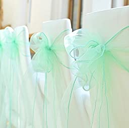 Bit Fly 29 Colors 100PCS Organza Chair Cover Sash Bow 18x275CM Wedding Party Reception Banquet Decor 7*108\