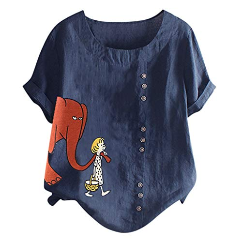 Ximandi Womens Casual Plus Size O-Neck Cartoon Printed Loose Button Tunic Shirt Blouse Tops Navy