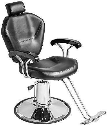Sillón Peluquería Barbería Maquillaje Tapizado PU Giratorio 360 grados Ajustable Color Negro Hidráulica