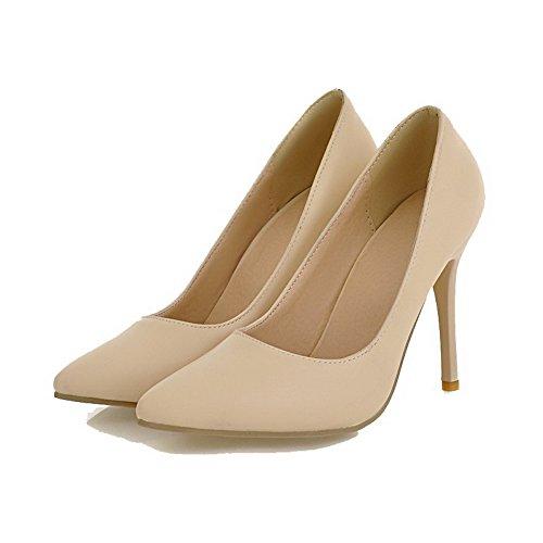 AllhqFashion Damen Ziehen auf Spitz Zehe Hoher Absatz PU Rein Pumps Schuhe Cremefarben