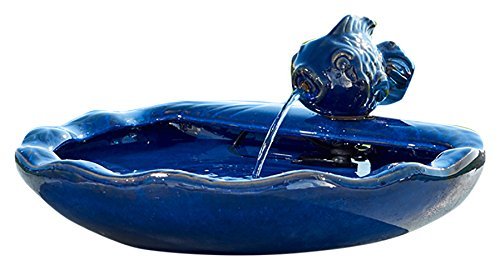 Smart Solar 21372R01 Ceramic Solar Koi Fountain, Blue Glazed Finish, Powered by an Included Solar Panel that Operates an Integral Low Voltage Pump With Filter (Garden Ceramic Fountain)