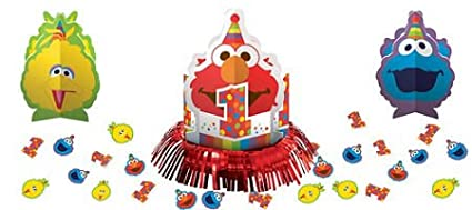Amazon 1st Birthday Elmo Sesame Street Party Supplies Table