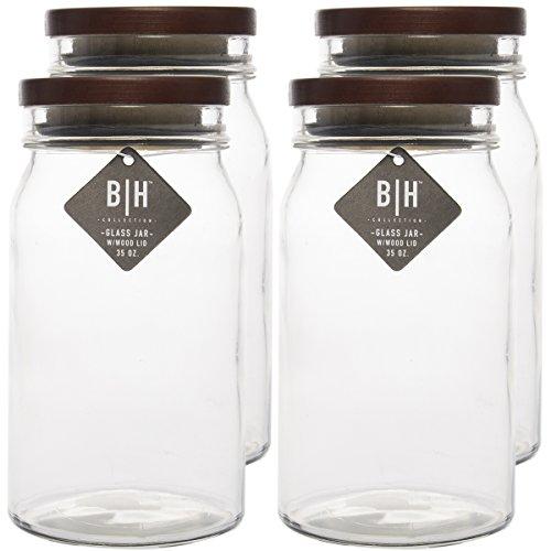 Blue Harbor  35oz Clear Glass Storage Jars With Wood Lids De