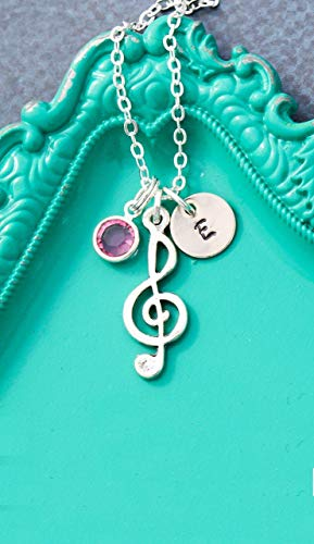 Music Note Necklace - DII AAA - Treble Clef - Piano Teacher Choir Gift - Handstamped Handmade Jewelry - 3/8 Inch 9MM Silver Disc - Choose Birthstone - Custom -