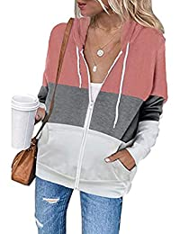 Lrady Women Lightweight Zipper Pullover Tops Stand Collar Drawstring Tunic Sweatshirts with Pockets