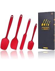 Professionell 4-delad, värmebeständig, sömlös 600F-silikonspatelsats för tillagning, bakning och blandning - Designspatel i ett stycke för non-stick köksredskap - Robust rostfritt stålkärna, röd