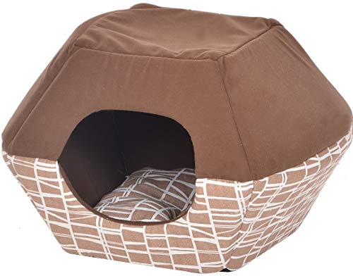 Catry Cat Bed with Bendable top 2-in-1 cat condo and Bed for Any Size Cats and Small Dogs, Warm and Cozy Luxury pet…