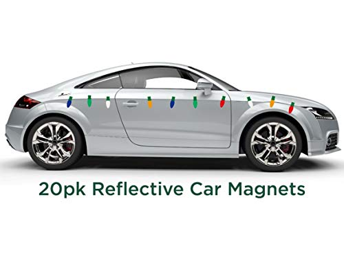 Decorate Car For Halloween Ideas (JUST BRIGHT Reflective Automotive Magnets- 20pk Light Bulb Shaped Festive Car Magnet Christmas Decorations- Decorate Your Car, Office, Home, or Any Metal Surface for Christmas - Assorted)