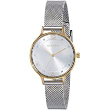 Skagen Women's Anita Quartz Two-Tone Stainless Steel Mesh Casual Watch, Color: Silver and Gold-Tone (Model: SKW2340)