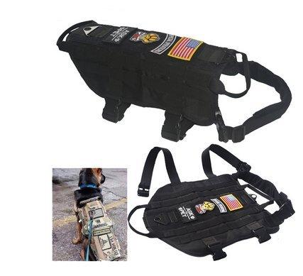 Milspec Molle - BLACK TACTICAL DOG VEST HARNESS MOLLE MILSPEC CANINE HOOK MILITARY Vest M-XL (XL)
