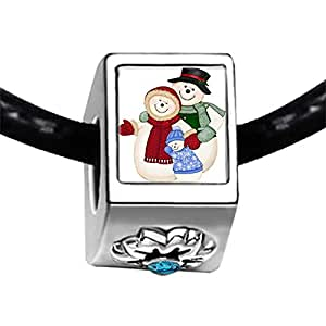 Chicforest Silver Plated Two Christmas Snowman Photo Blue Zircon Crystal December Birthstone Flower Charm Beads Fits Pandora Bracelet