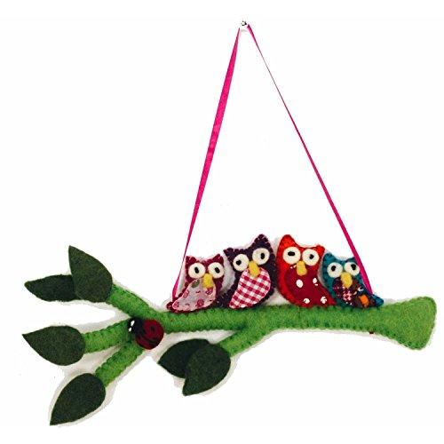 HomeCrafts4U Wall Decor Owl Felted Plush Stuffed Animal Hanging Ornament Handmade Kids Bedroom Accessories Decorative Nursery Charm
