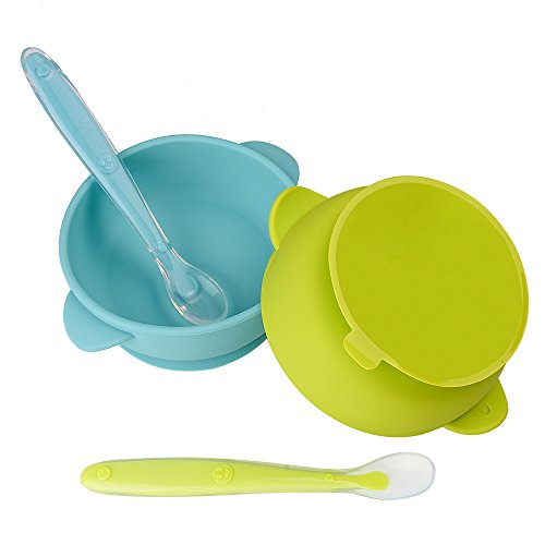 2 Pack Baby Bowls, Silicone Stay up Food Bowl for Kids and Toddlers with Improved Super Suction Base