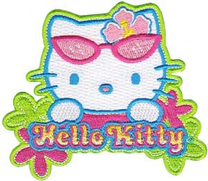 Sanrio Hello Kitty Iron On Patch - Sunglasses Cat Head & Flowers Applique - Hello Kitty Applique