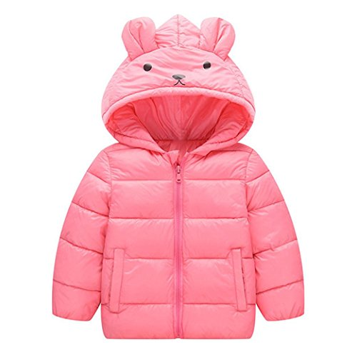 Kids Winter Coat, Hometom Baby Girls Boys Kids Hooded Down Jacket Winter Warm Parka Outwear Coat (18M, Pink)