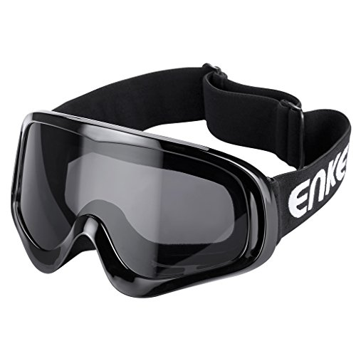Enkeeo Motorcycle Goggles Anti-Scratch Cycling Googles Dust Proof Bendable Eyewear with Padded Soft Foam, Adjustable Strap for Adults' Cycling Skiing Climbing Shooting (Grey - Googles Goggles