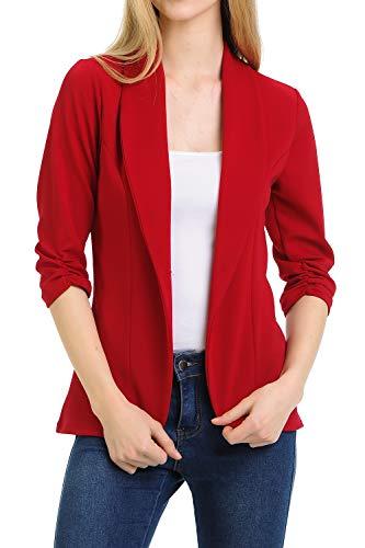 MINEFREE Women's 3/4 Ruched Sleeve Lightweight Work Office Blazer Jacket Ruby -