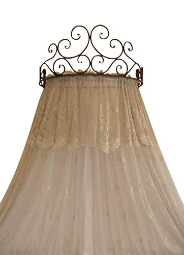 (Metal Crown Wall Sculptures Teester Bed Canopy Drapery Hardware Over Bed or Window (Cherry(24.75