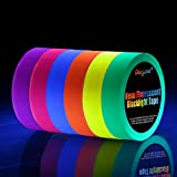 Neon Tape [Bigger Size] UV Blacklight Reactive Fluorescent, Glow in The Dark Gaffer Tapes 6 Colors, 1 inch 50ft. per roll, for Black Light Party Supplies