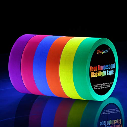 Neon Tape [Bigger Size] UV Blacklight Reactive Fluorescent, Glow in The Dark Gaffer Tapes 6 Colors, 1 inch 50ft. per roll, for Black Light Party Supplies ()