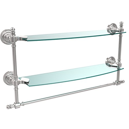 Allied Brass RD-34TB/18-PC 18'' Double Glass Shelf with TB Polished Chrome by Allied Brass