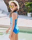 DUSISHIDAN Girls' Swimsuits One Piece Swimsuit Cute Cartoon Blue Eye Stripes 7-16