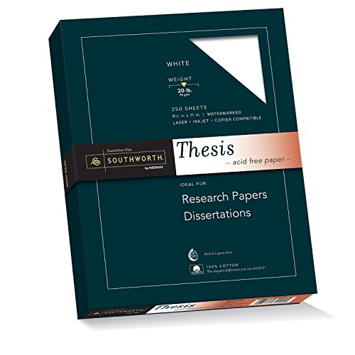 Southworth Exceptional Thesis Paper, 100% Cotton, 20lb, White, 250 Sheets (35-120-10)