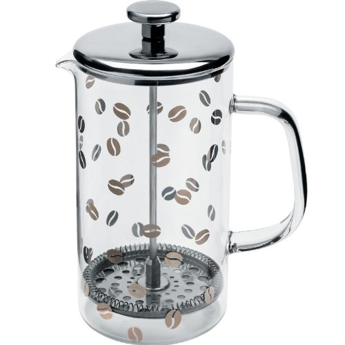 "Alessi""Mame"" Press Filter Coffee Maker Or infuser in 18/10 Stainless Steel Silk-Screened Mirror Polished And Heat Resistant Glass, Silver"