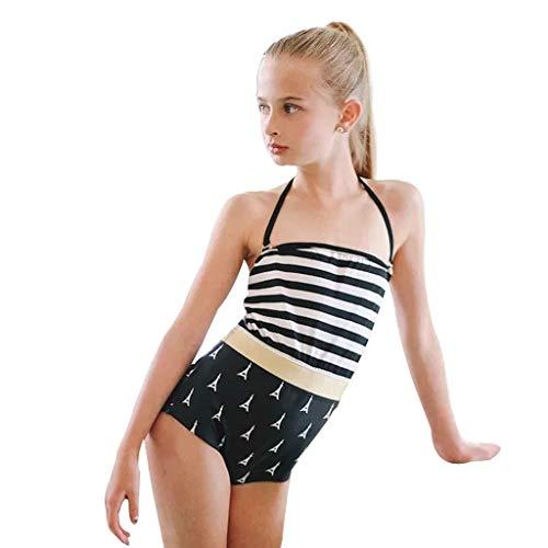 Nargar Baby Girls One Piece Swimwear Halter Neck Swimsuit Striped Swimming Cosutme