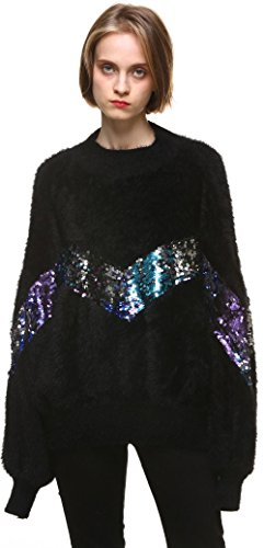 Youshunfushi Women's Ladies Long Sleeve Sparkling Sequins Knit Jumper Sweater Pullover Top Black