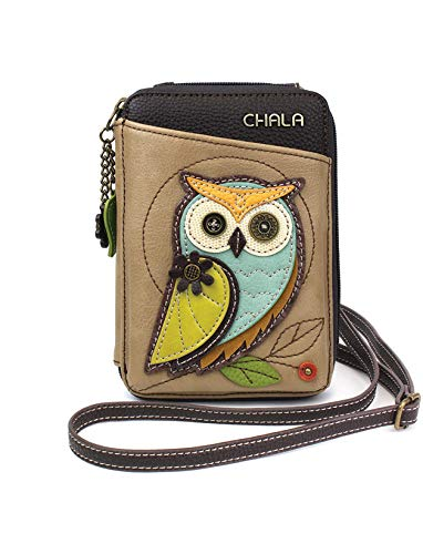 (Chala Wallet Crossbody Cell Phone Purse-Women Faux Leather Multicolor Handbag with Adjustable Strap - Owl-A Taupe)