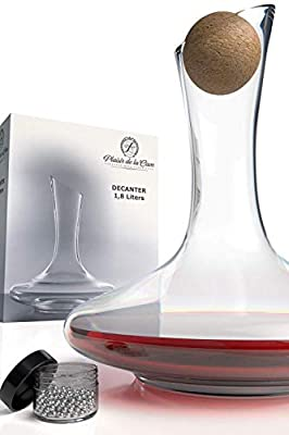 Wine Decanter Crystal 100% Free from Lead – Bonus Cork Stopper & Steel Cleaning Beads Accessories