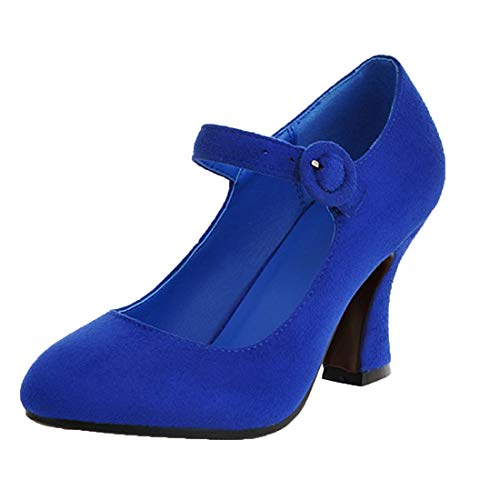 Vitalo Womens Round Toe Mary Jane High Heels Pumps with Ankle Strap Court Shoes Size 7.5 B(M) US,Royal Blue
