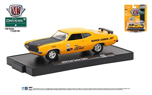M2 Machines Auto-Drivers 1:64 R50 1970 Ford Torino Cobra Orange w/ Black Hood