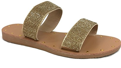 - The Collection Annie Womens Double 2 Strap Sandal Low Flat Heel Slip On Slide, Gold Crystal, 6.5