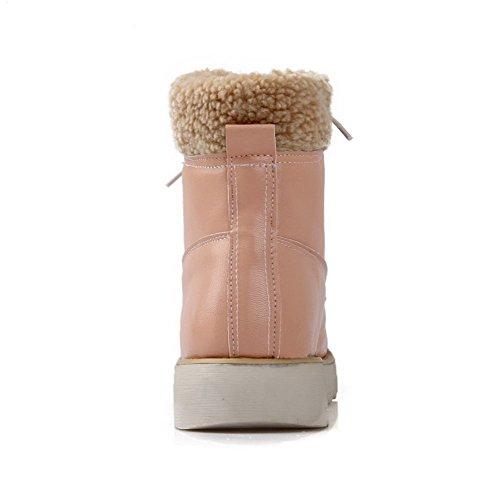 AllhqFashion Damen Schnüren PU Leder Rund Zehe Niedriger Absatz Stiefel Pink