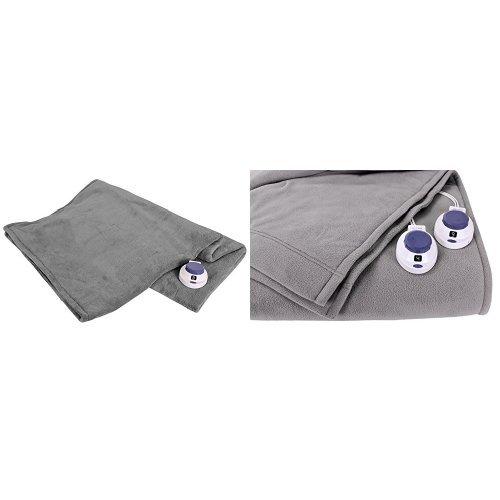 Soft Heat Luxury Micro-Fleece Low-Voltage Electric Heated Throw, Grey and Soft Heat Luxury Micro-Fleece Low-Voltage Electric Heated Blanket, Twin, Grey