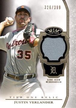 2013 Topps Tier One Relics #TOR-JVR Justin Verlander Game Worn Jersey Baseball Card - Only 399 made! ()