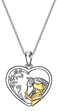 YFN Horse Pendant Necklace Sterling Silver Girls Embrace Horse Gift for Girls Boys Horse Lover