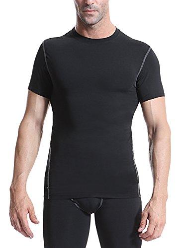 気候の山飽和する百Men 's Compression Top Cool Dryストレッチベースレイヤー半袖Tシャツアンダーシャツ