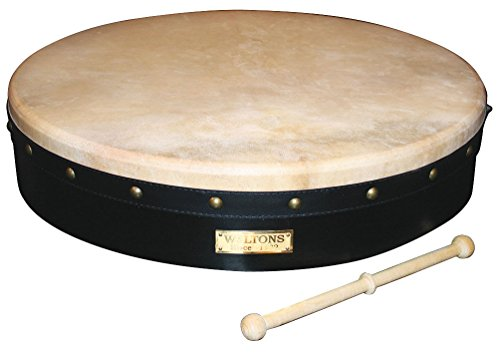 "Waltons Bodhrán 18"" (Tunable Black) - Handcrafted Irish Instrument - Crisp & Musical Tone - Hardwood Beater Included w/Purchase from Waltons"